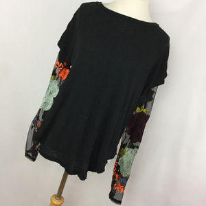 Free People S Small Shirt Blouse Black Embroidered